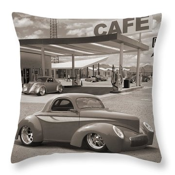 Hot Rods At Roy's Gas Station Sepia Throw Pillow