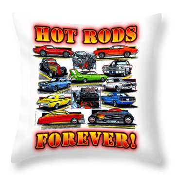 Hot Rods Forever Throw Pillow
