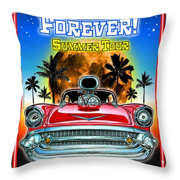 Hot Rods Forever Summer Tour Throw Pillow