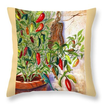 Throw Pillow featuring the painting Hot Sauce On The Vine by Marilyn Smith
