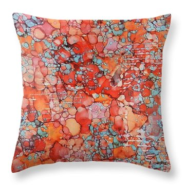 Throw Pillow featuring the painting Hot Spots Ink #21 by Sarajane Helm