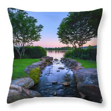 Hot Spring Water Flow Throw Pillow
