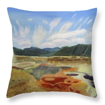 Throw Pillow featuring the painting Hot Springs by Linda Feinberg