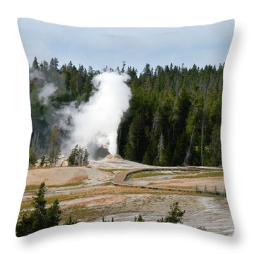 Hot Steam Dog Yellowstone National Park Wy Throw Pillow by Christine Till