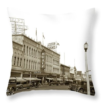 Hotel Cominos On Main Street In Salinas, Calif. Circa 1932 Zan Stark Photo # 423  Throw Pillow