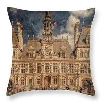 Paris, France - Hotel De Ville Throw Pillow
