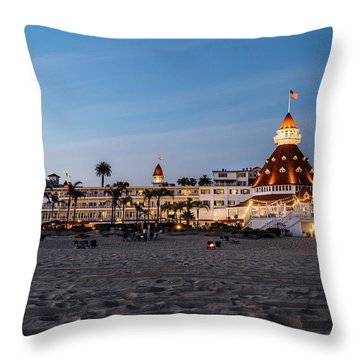 Hotel Del At Twilight Throw Pillow