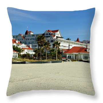 Hotel Del Coronado Beach Throw Pillow by Jeff Lowe