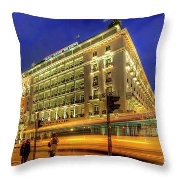 Throw Pillow featuring the photograph Hotel Grande Bretagne - Athens by Yhun Suarez