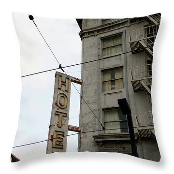 Hotel Throw Pillow by Linda Shafer