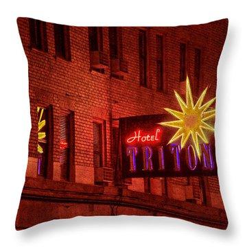 Hotel Triton Neon Sign Throw Pillow