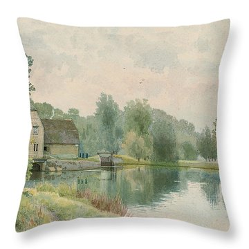 Houghton Mill On The River Ouse Throw Pillow