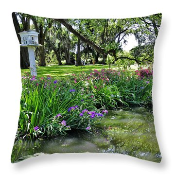 Houmas House Pond Throw Pillow by Helen Haw
