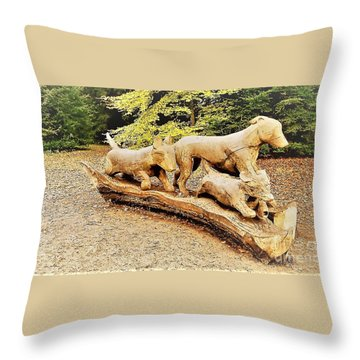 Hounds On The Run Throw Pillow