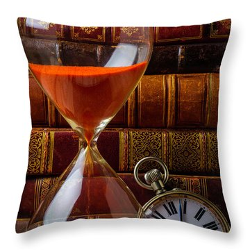 Hourglass And Pocket Watch Throw Pillow