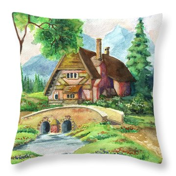 House Along The River Throw Pillow