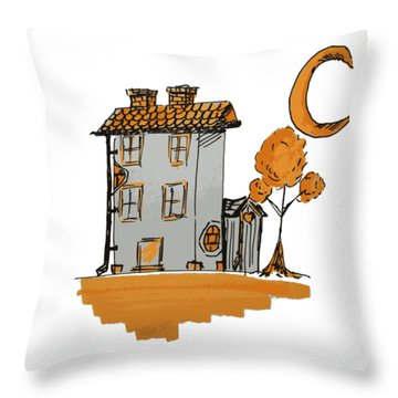 House And Moon Throw Pillow