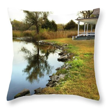 House By The Edge Of The Lake Throw Pillow by Jill Battaglia