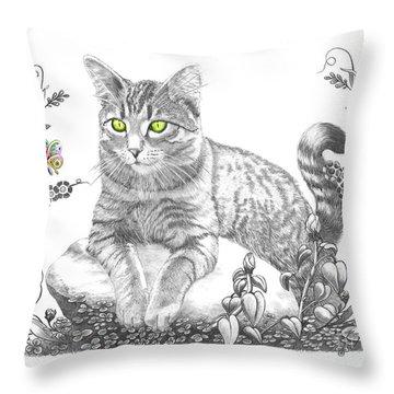 House Cat Throw Pillow by Murphy Elliott