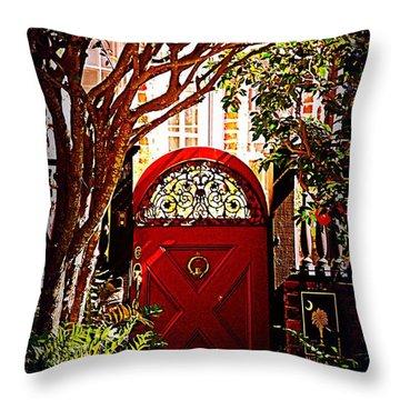 House Door 5 In Charleston Sc  Throw Pillow