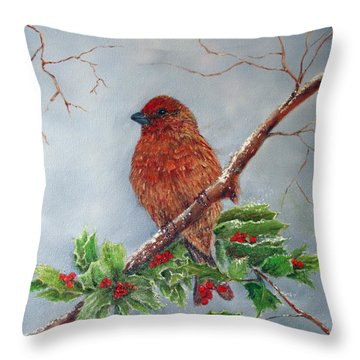 House Finch In Winter Throw Pillow by Loretta Luglio