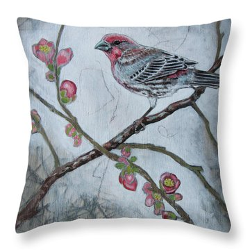 Throw Pillow featuring the mixed media House Finch by Sheri Howe