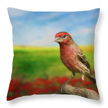 Throw Pillow featuring the photograph House Finch by Steven Richardson