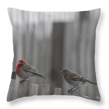 House Finches On The Fence Throw Pillow