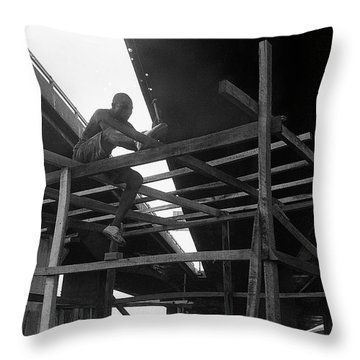 Wooden House Construction Throw Pillow
