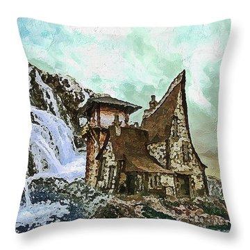 Throw Pillow featuring the digital art House Near Waterfall by PixBreak Art