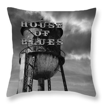 Throw Pillow featuring the photograph House Of Blues B/w by Laura Fasulo