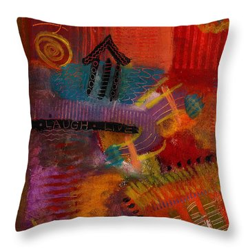 Throw Pillow featuring the painting House Of Laughter by Angela L Walker