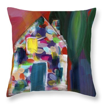 House Of Many Colors- Art By Linda Woods Throw Pillow
