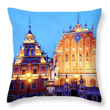 Throw Pillow featuring the photograph House Of The Blackheads by Fabrizio Troiani