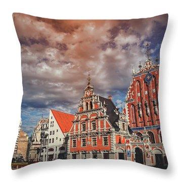 House Of The Blackheads In Riga Latvia  Throw Pillow