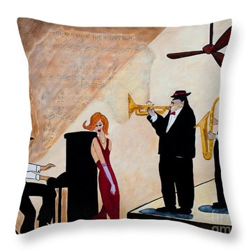 Throw Pillow featuring the painting House Of The Rising Sun by Barbara McMahon
