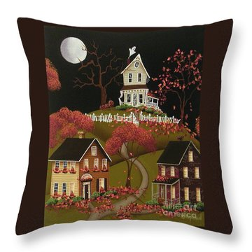 House On Haunted Hill Throw Pillow by Catherine Holman