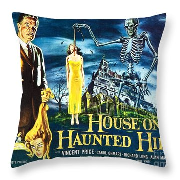 House On Haunted Hill Poster Classic Horror Movie  Throw Pillow