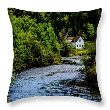 House On Margaree River Throw Pillow by Ken Morris