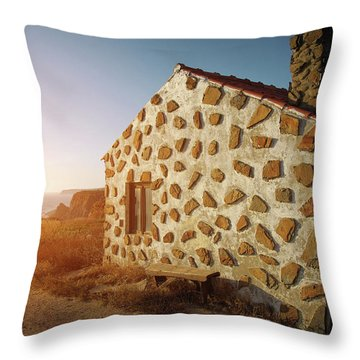Throw Pillow featuring the photograph House On The Cliff by Carlos Caetano