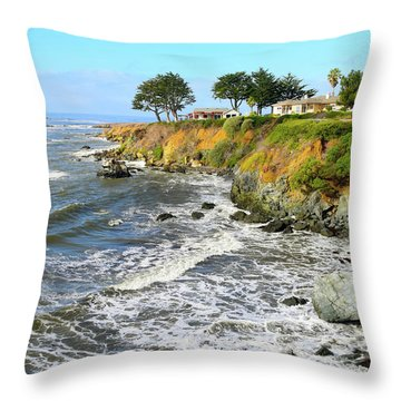 Throw Pillow featuring the photograph House On The Point Cayucos California by Barbara Snyder