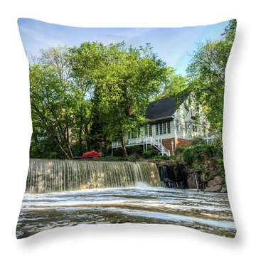 House Overlooking Waterfall Throw Pillow