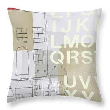 House Plans 2- Art By Linda Woods Throw Pillow