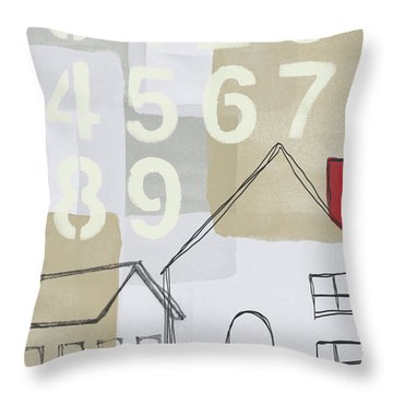 House Plans 3- Art By Linda Woods Throw Pillow