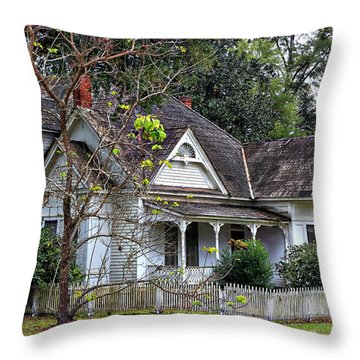 House With A Picket Fence Throw Pillow by Lynn Jordan
