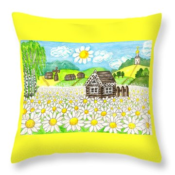 House With Camomiles, Painting Throw Pillow