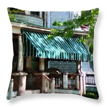 House With Green Striped Awnings Throw Pillow by Susan Savad