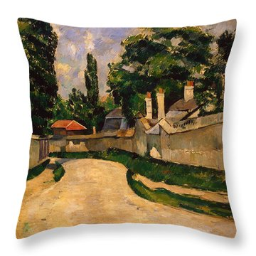 Houses Along A Road Throw Pillow by Paul Cezanne