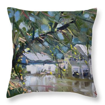 Houses Along The Canal Throw Pillow