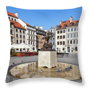 Houses And Mermaid On Warsaw Old Town Square Throw Pillow